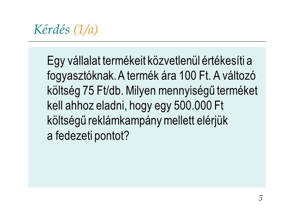 Repülőgépülések iránti kereslet (3a) 36 Elfoglalt ülések Ár 100200 300 0 B C 200 € A P = 1400 – 4Q TR = 60e € FT = 180e €
