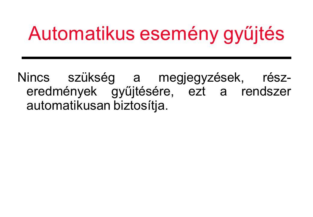 Automatikus esemény gyűjtés Nincs szükség a megjegyzések, rész- eredmények gyűjtésére, ezt a rendszer automatikusan biztosítja.