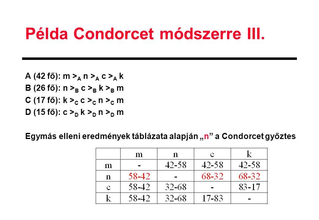 Példa Condorcet módszerre III.