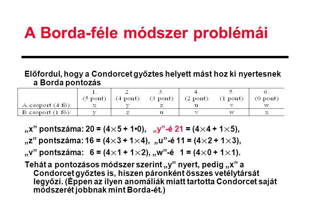 """A Borda-féle módszer problémái Előfordul, hogy a Condorcet győztes helyett mást hoz ki nyertesnek a Borda pontozás """"x pontszáma: 20 = (4×5 + 10), """"y -é 21 = (4×4 + 1×5), """"z pontszáma: 16 = (4×3 + 1×4), """"u -é 11 = (4×2 + 1×3), """"v pontszáma: 6 = (4×1 + 1×2), """"w -é 1 = (4×0 + 1×1)."""