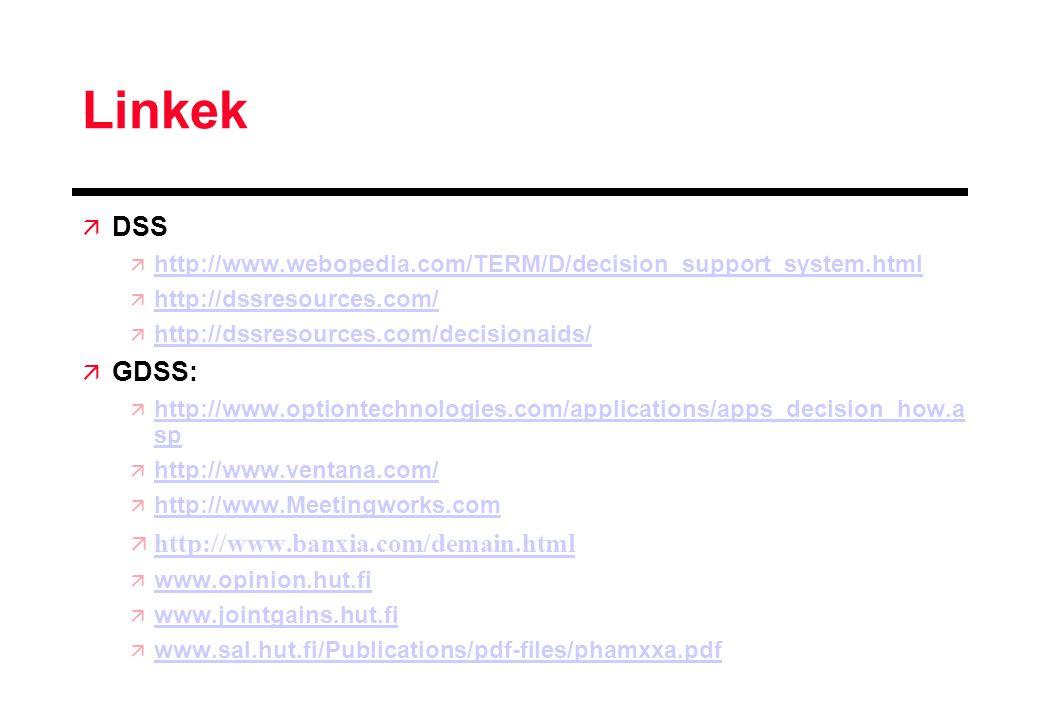 Linkek  DSS  http://www.webopedia.com/TERM/D/decision_support_system.html http://www.webopedia.com/TERM/D/decision_support_system.html  http://dssresources.com/ http://dssresources.com/  http://dssresources.com/decisionaids/ http://dssresources.com/decisionaids/  GDSS:  http://www.optiontechnologies.com/applications/apps_decision_how.a sp http://www.optiontechnologies.com/applications/apps_decision_how.a sp  http://www.ventana.com/ http://www.ventana.com/  http://www.Meetingworks.com http://www.Meetingworks.com  http://www.banxia.com/demain.html http://www.banxia.com/demain.html  www.opinion.hut.fi www.opinion.hut.fi  www.jointgains.hut.fi www.jointgains.hut.fi  www.sal.hut.fi/Publications/pdf-files/phamxxa.pdf www.sal.hut.fi/Publications/pdf-files/phamxxa.pdf