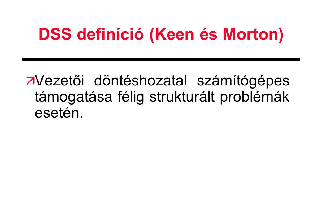 DSS definíció (Keen és Morton) ä Vezetői döntéshozatal számítógépes támogatása félig strukturált problémák esetén.