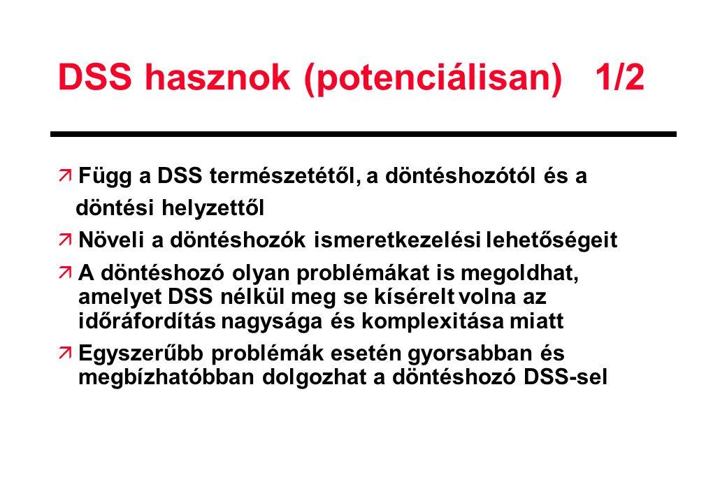 DSS hasznok (potenciálisan)1/2 ä Függ a DSS természetétől, a döntéshozótól és a döntési helyzettől ä Növeli a döntéshozók ismeretkezelési lehetőségeit