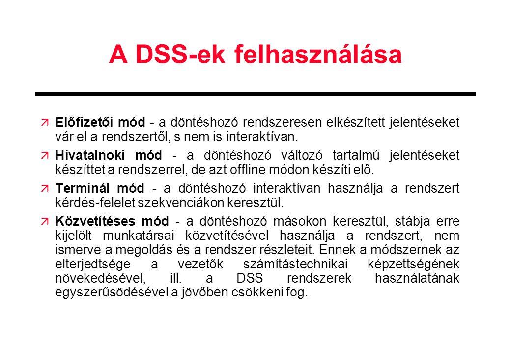 A DSS-ek felhasználása ä Előfizetői mód - a döntéshozó rendszeresen elkészített jelentéseket vár el a rendszertől, s nem is interaktívan. ä Hivatalnok