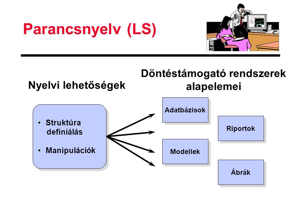 Parancsnyelv (LS) Adatbázisok Riportok Ábrák Modellek Döntéstámogató rendszerek alapelemei Struktúra definiálás Manipulációk Struktúra definiálás Mani