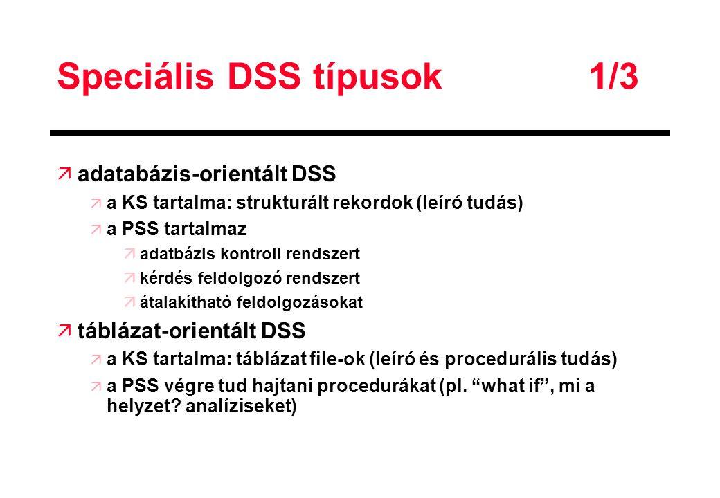 Speciális DSS típusok 1/3 ä adatabázis-orientált DSS ä a KS tartalma: strukturált rekordok (leíró tudás) ä a PSS tartalmaz äadatbázis kontroll rendsze