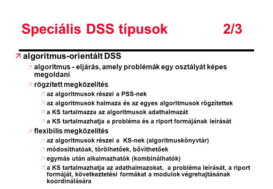 Speciális DSS típusok 2/3 ä algoritmus-orientált DSS ä algoritmus - eljárás, amely problémák egy osztályát képes megoldani ä rögzített megközelítés äa