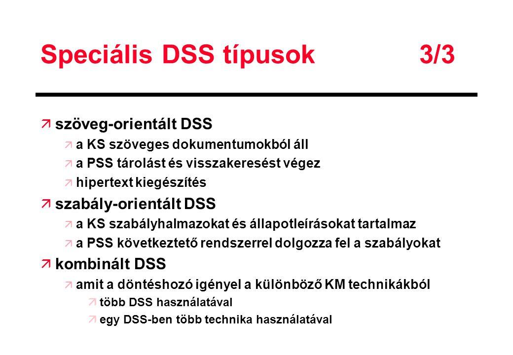 Speciális DSS típusok 3/3 ä szöveg-orientált DSS ä a KS szöveges dokumentumokból áll ä a PSS tárolást és visszakeresést végez ä hipertext kiegészítés