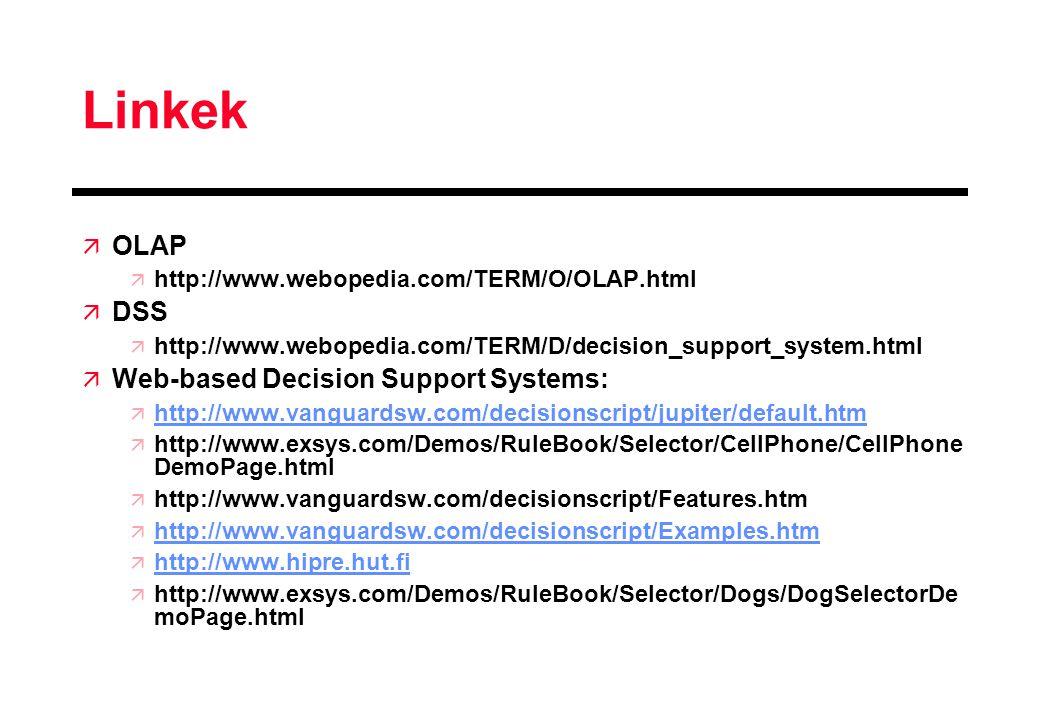 Linkek ä OLAP ä http://www.webopedia.com/TERM/O/OLAP.html ä DSS ä http://www.webopedia.com/TERM/D/decision_support_system.html ä Web-based Decision Su