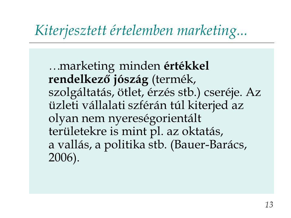 Kiterjesztett értelemben marketing... 13 … marketing minden értékkel rendelkező jószág (termék, szolgáltatás, ötlet, érzés stb.) cseréje. Az üzleti vá