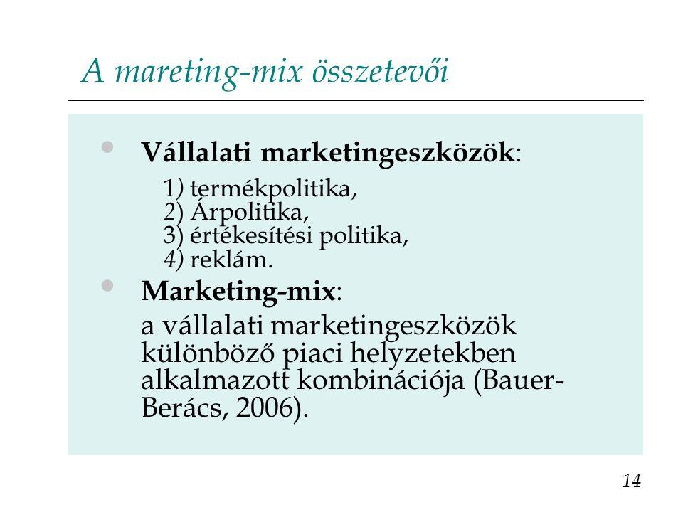 A mareting-mix összetevői 14 Vállalati marketingeszközök : 1 ) termékpolitika, 2 ) Árpolitika, 3) értékesítési politika, 4) reklám. Marketing-mix : a