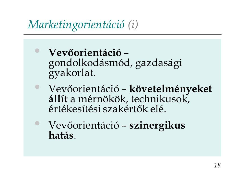 Marketingorientáció (i) 18 Vevőorientáció – gondolkodásmód, gazdasági gyakorlat. Vevőorientáció – követelményeket állít a mérnökök, technikusok, érték