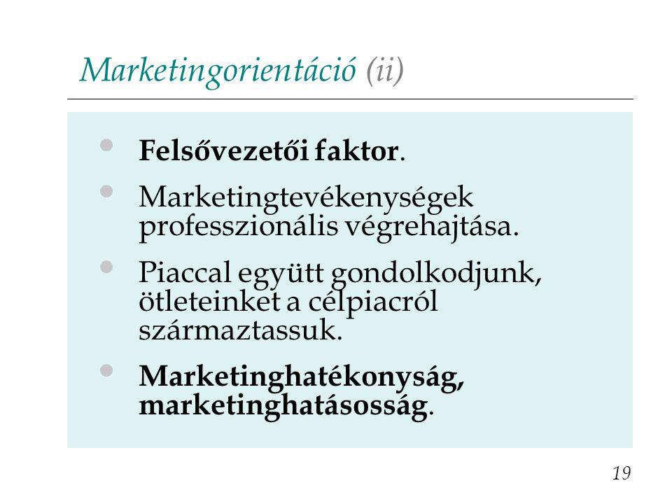 Marketingorientáció (ii) 19 Felsővezetői faktor. Marketingtevékenységek professzionális végrehajtása. Piaccal együtt gondolkodjunk, ötleteinket a célp