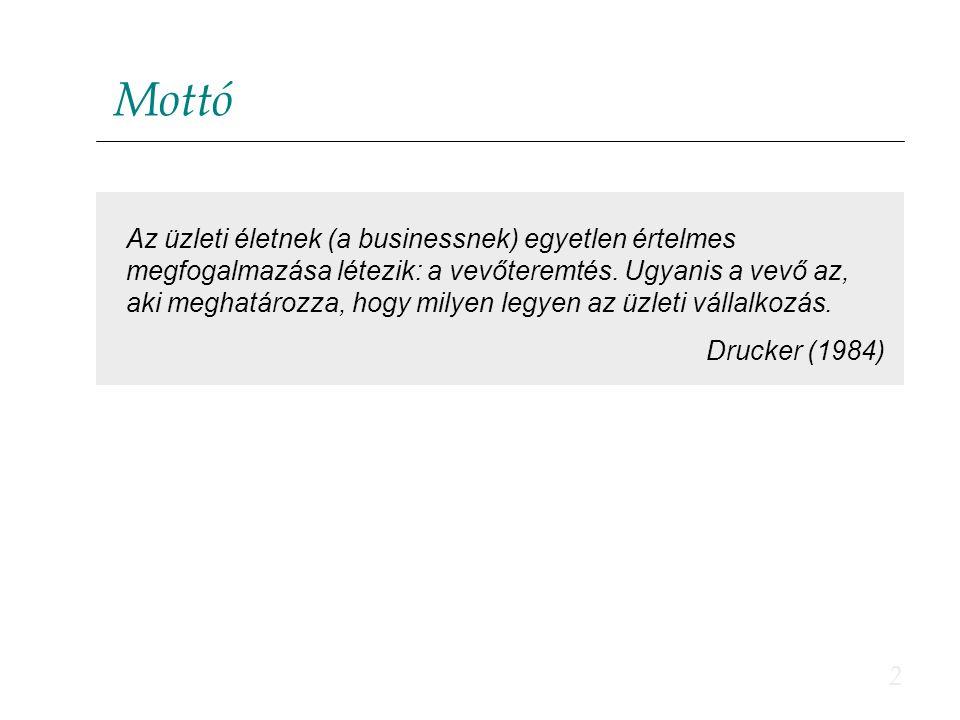 2 Mottó Az üzleti életnek (a businessnek) egyetlen értelmes megfogalmazása létezik: a vevőteremtés. Ugyanis a vevő az, aki meghatározza, hogy milyen l