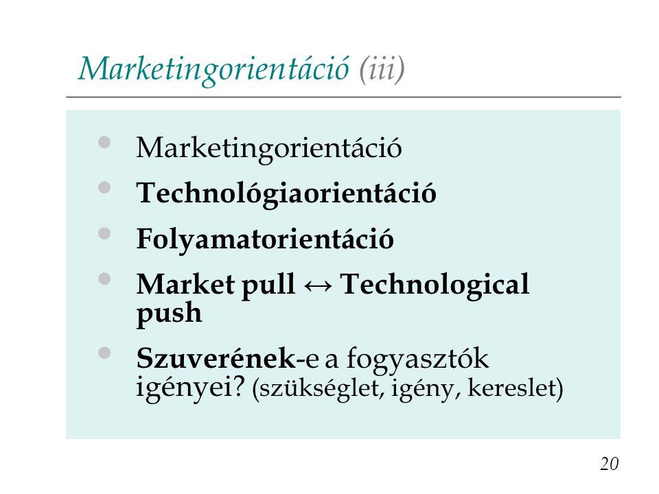Marketingorientáció (iii) 20 Marketingorientáció Technológiaorientáció Folyamatorientáció Market pull ↔ Technological push Szuverének -e a fogyasztók