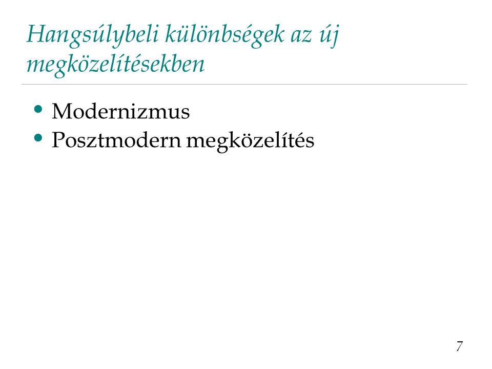 Hangsúlybeli különbségek az új megközelítésekben 7 Modernizmus Posztmodern megközelítés