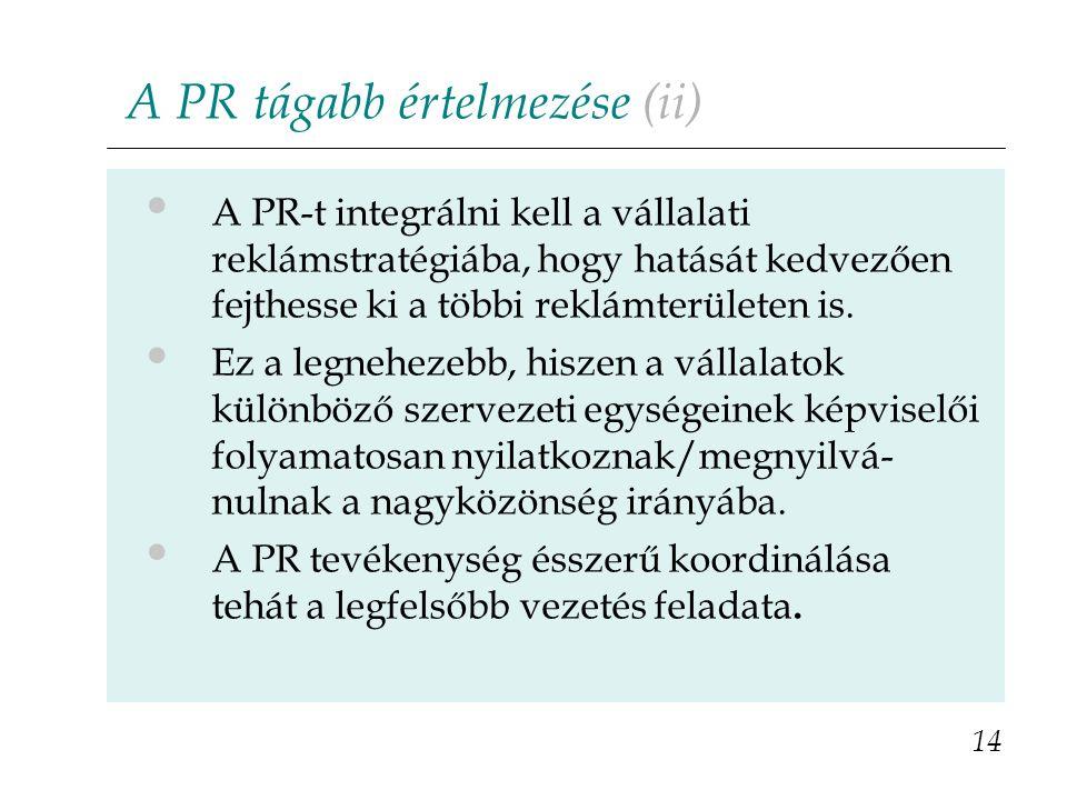 A PR tágabb értelmezése (ii) A PR-t integrálni kell a vállalati reklámstratégiába, hogy hatását kedvezően fejthesse ki a többi reklámterületen is.