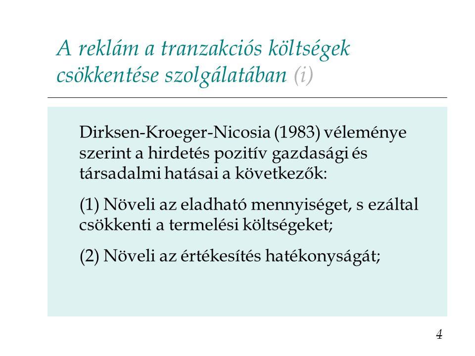 A reklám a tranzakciós költségek csökkentése szolgálatában (i) Dirksen-Kroeger-Nicosia (1983) véleménye szerint a hirdetés pozitív gazdasági és társadalmi hatásai a következők: (1) Növeli az eladható mennyiséget, s ezáltal csökkenti a termelési költségeket; (2) Növeli az értékesítés hatékonyságát; 4