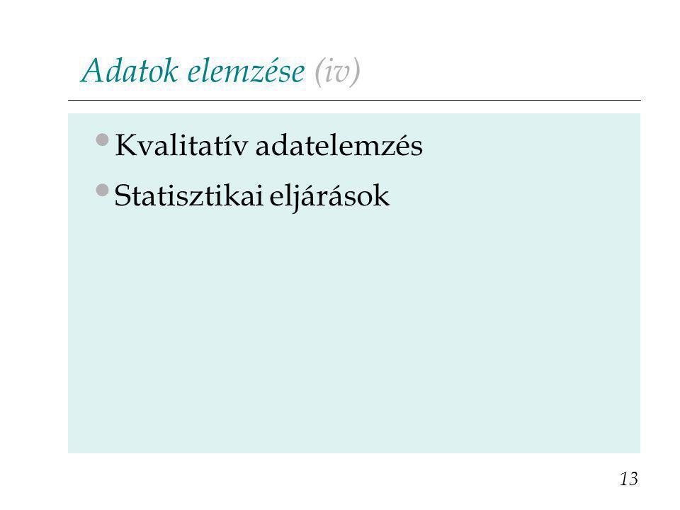 Adatok elemzése (iv) Kvalitatív adatelemzés Statisztikai eljárások 13