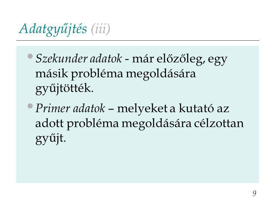 Adatgyűjtés (iii) Szekunder adatok - már előzőleg, egy másik probléma megoldására gyűjtötték. Primer adatok – melyeket a kutató az adott probléma mego