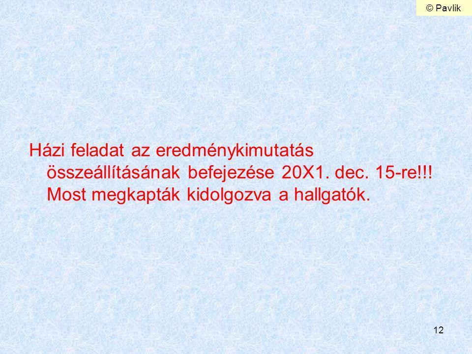 12 Házi feladat az eredménykimutatás összeállításának befejezése 20X1. dec. 15-re!!! Most megkapták kidolgozva a hallgatók. © Pavlik