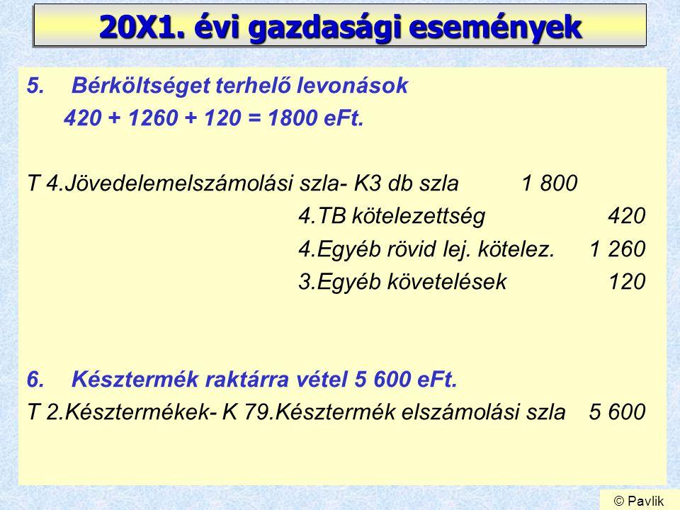 18 20X1. évi gazdasági események 5.Bérköltséget terhelő levonások 420 + 1260 + 120 = 1800 eFt. T 4.Jövedelemelszámolási szla- K3 db szla 1 800 4.TB kö