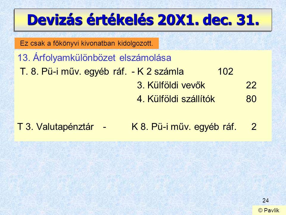 24 Devizás értékelés 20X1. dec. 31. 13. Árfolyamkülönbözet elszámolása T. 8. Pü-i műv. egyéb ráf.- K 2 számla102 3. Külföldi vevők22 4. Külföldi száll