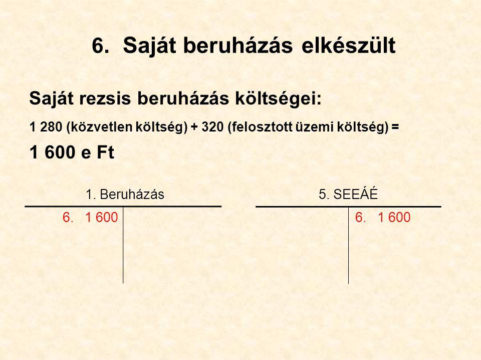 6. Saját beruházás elkészült Saját rezsis beruházás költségei: 1 280 (közvetlen költség) + 320 (felosztott üzemi költség) = 1 600 e Ft 5. SEEÁÉ1. Beru