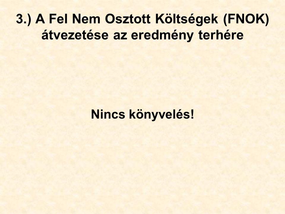 3.) A Fel Nem Osztott Költségek (FNOK) átvezetése az eredmény terhére Nincs könyvelés!