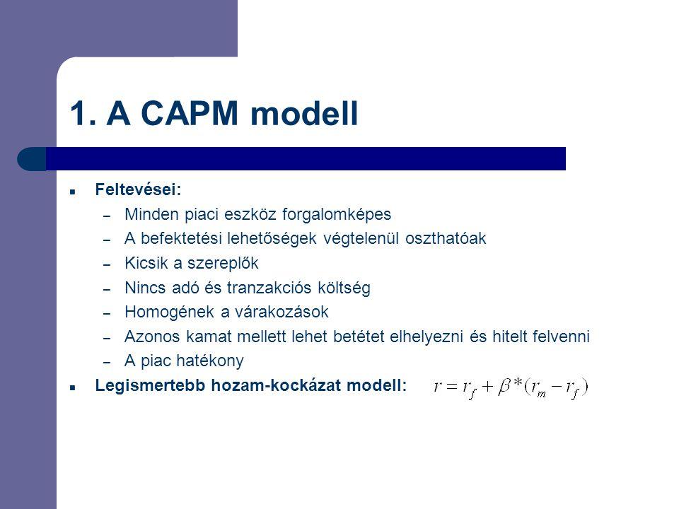 1. A CAPM modell Feltevései: – Minden piaci eszköz forgalomképes – A befektetési lehetőségek végtelenül oszthatóak – Kicsik a szereplők – Nincs adó és