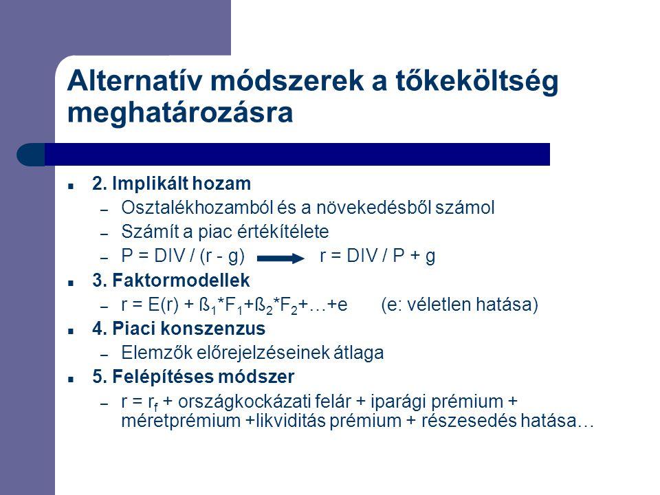 Alternatív módszerek a tőkeköltség meghatározásra 2. Implikált hozam – Osztalékhozamból és a növekedésből számol – Számít a piac értékítélete – P = DI