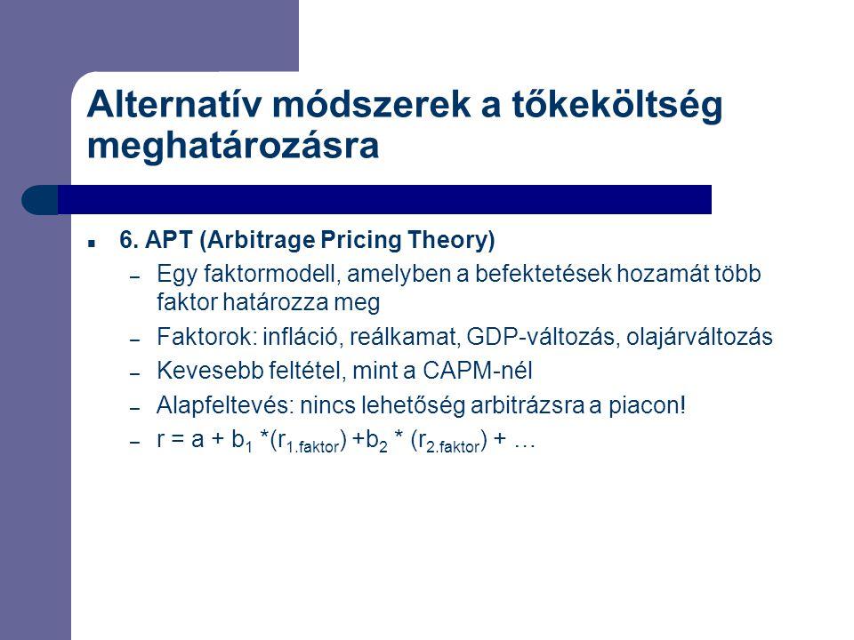 Alternatív módszerek a tőkeköltség meghatározásra 6. APT (Arbitrage Pricing Theory) – Egy faktormodell, amelyben a befektetések hozamát több faktor ha