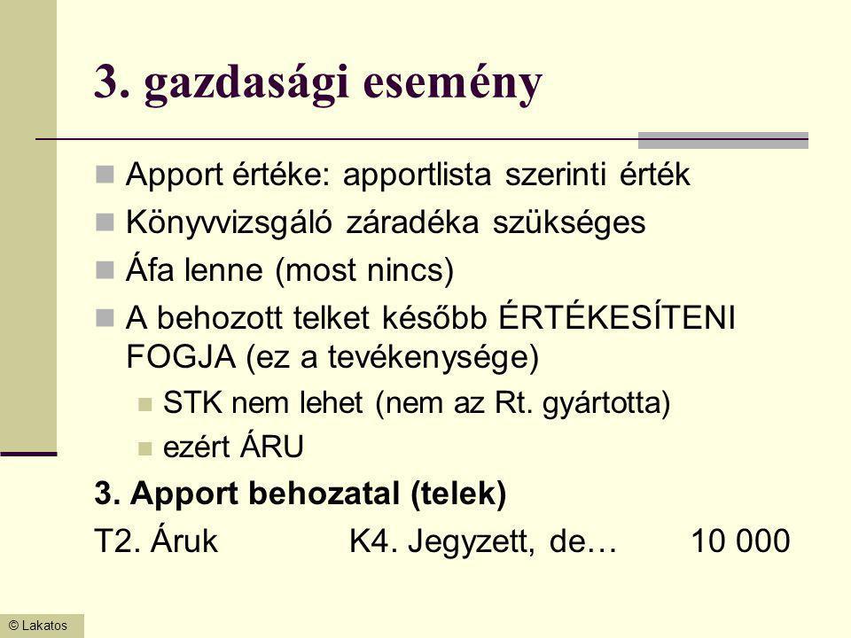 © Lakatos 3. gazdasági esemény Apport értéke: apportlista szerinti érték Könyvvizsgáló záradéka szükséges Áfa lenne (most nincs) A behozott telket kés