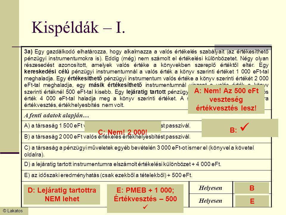 © Lakatos Kispéldák – I. 3a) Egy gazdálkodó elhatározza, hogy alkalmazza a valós értékelés szabályait (az értékesíthető pénzügyi instrumentumokra is).
