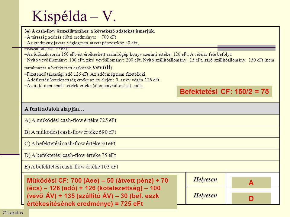© Lakatos Kispélda – V. 3e) A cash-flow összeállításához a következő adatokat ismerjük. –A társaság adózás előtti eredménye: + 700 eFt –Az eredmény ja