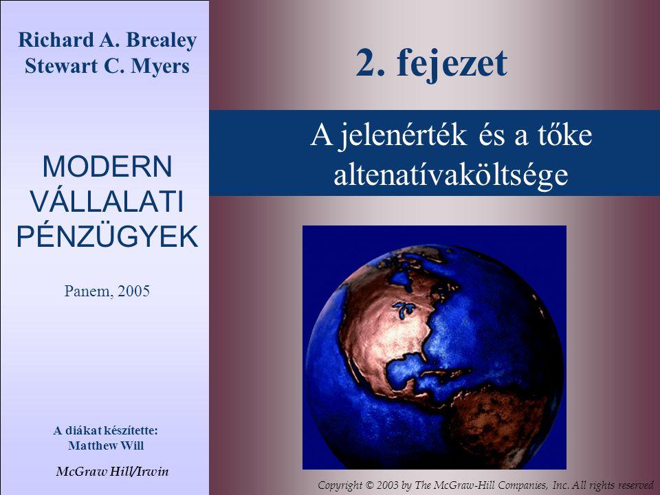 Richard A. Brealey Stewart C. Myers MODERN VÁLLALATI PÉNZÜGYEK Panem, 2005 A diákat készítette: Matthew Will 2. fejezet McGraw Hill/Irwin Copyright ©