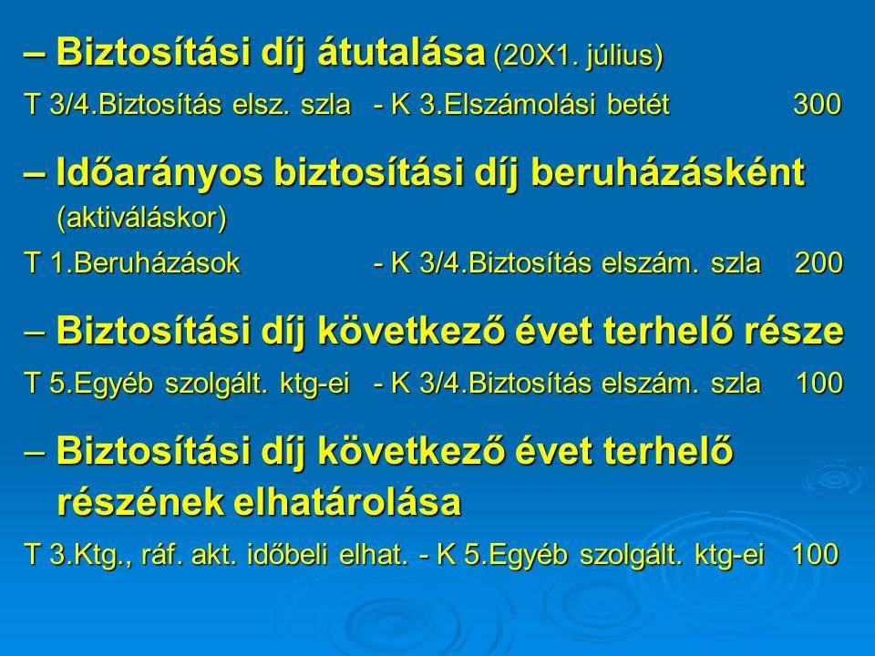 – Biztosítási díj átutalása (20X1. július) T 3/4.Biztosítás elsz. szla - K 3.Elszámolási betét 300 – Időarányos biztosítási díj beruházásként (aktivál