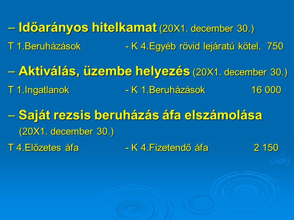  Időarányos hitelkamat (20X1. december 30.) T 1.Beruházások - K 4.Egyéb rövid lejáratú kötel. 750  Aktiválás, üzembe helyezés (20X1. december 30.) T