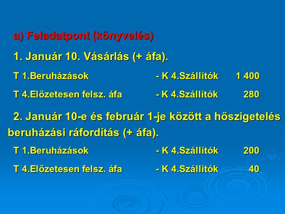 a) Feladatpont (könyvelés) 1. Január 10. Vásárlás (+ áfa). T 1.Beruházások- K 4.Szállítók 1 400 T 4.Előzetesen felsz. áfa- K 4.Szállítók 280 2. Január