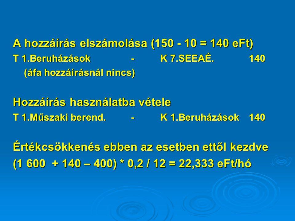 A hozzáírás elszámolása (150 - 10 = 140 eFt) T 1.Beruházások-K 7.SEEAÉ. 140 (áfa hozzáírásnál nincs) Hozzáírás használatba vétele T 1.Műszaki berend.-