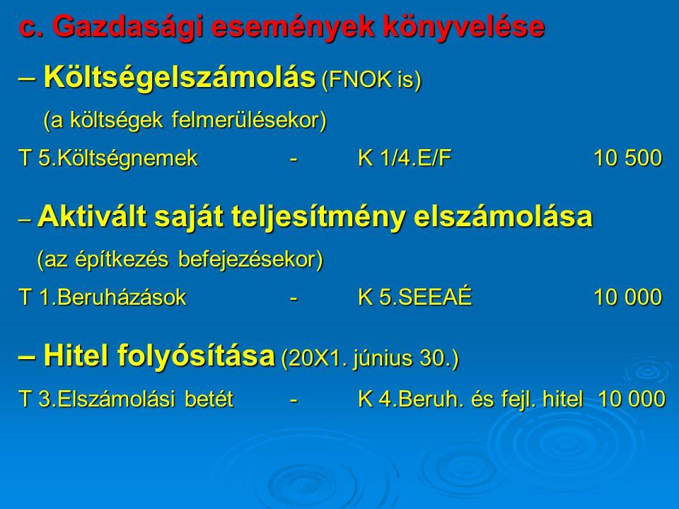 c. Gazdasági események könyvelése – Költségelszámolás (FNOK is) (a költségek felmerülésekor) (a költségek felmerülésekor) T 5.Költségnemek-K 1/4.E/F 1