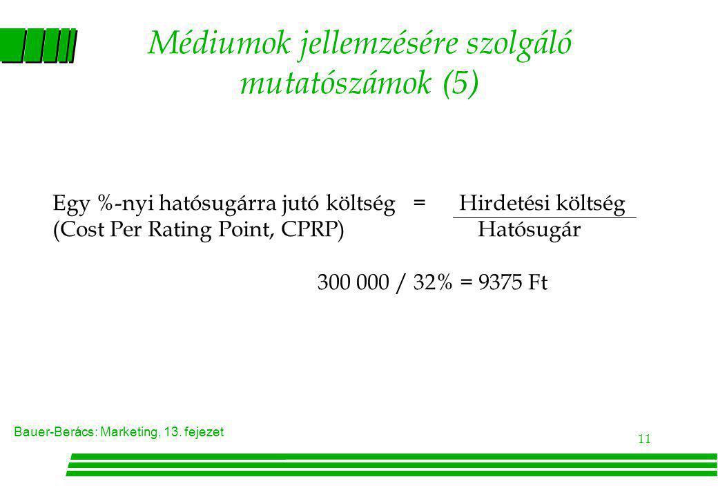 Bauer-Berács: Marketing, 13. fejezet 11 Médiumok jellemzésére szolgáló mutatószámok (5) Egy %-nyi hatósugárra jutó költség = Hirdetési költség (Cost P