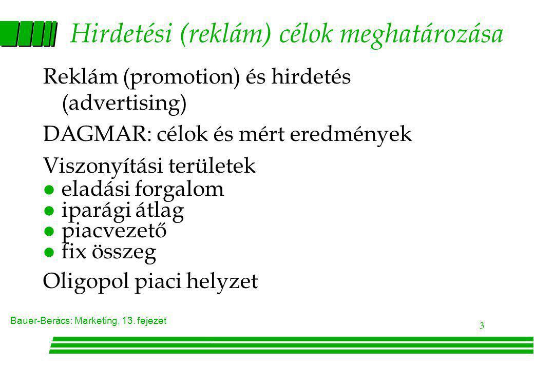 Bauer-Berács: Marketing, 13. fejezet 3 Hirdetési (reklám) célok meghatározása Reklám (promotion) és hirdetés (advertising) DAGMAR: célok és mért eredm
