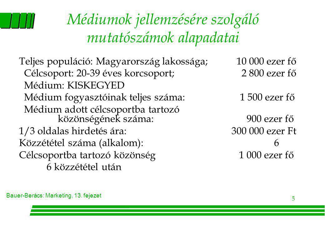 Bauer-Berács: Marketing, 13. fejezet 5 Médiumok jellemzésére szolgáló mutatószámok alapadatai Teljes populáció: Magyarország lakossága; 10 000 ezer fő