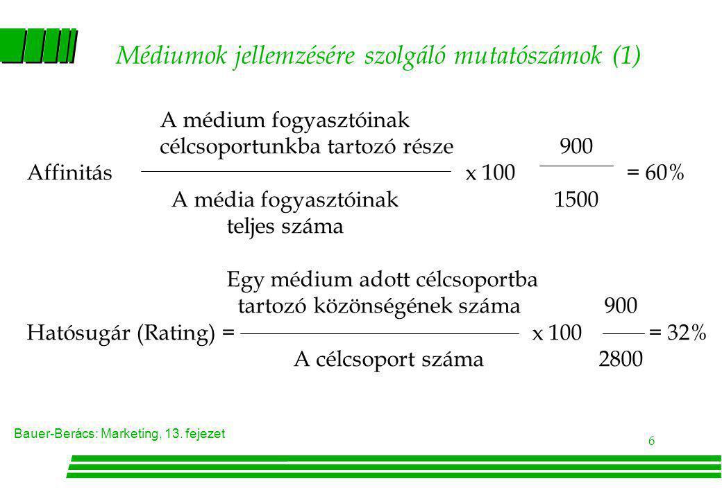 Bauer-Berács: Marketing, 13. fejezet 6 Médiumok jellemzésére szolgáló mutatószámok (1) A médium fogyasztóinak célcsoportunkba tartozó része900 Affinit