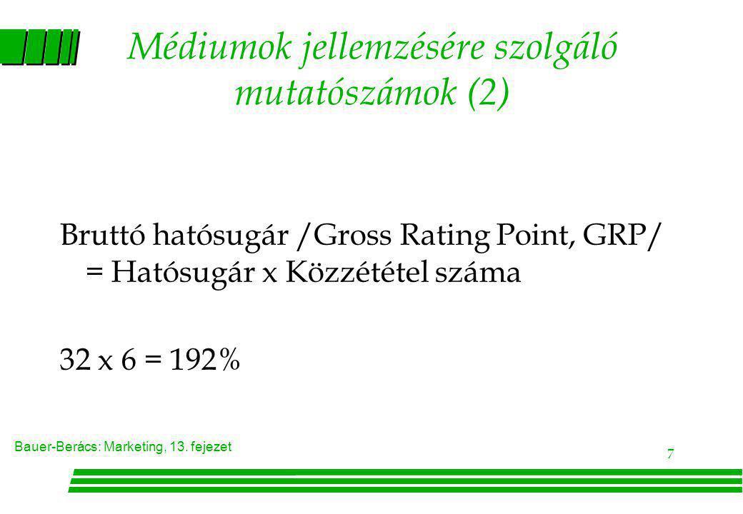Bauer-Berács: Marketing, 13. fejezet 7 Médiumok jellemzésére szolgáló mutatószámok (2) Bruttó hatósugár /Gross Rating Point, GRP/ = Hatósugár x Közzét
