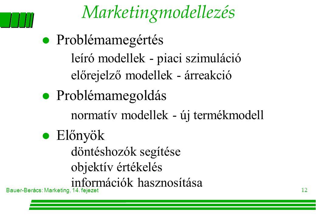 Bauer-Berács: Marketing, 14. fejezet 12 Marketingmodellezés Problémamegértés leíró modellek - piaci szimuláció előrejelző modellek - árreakció l Probl