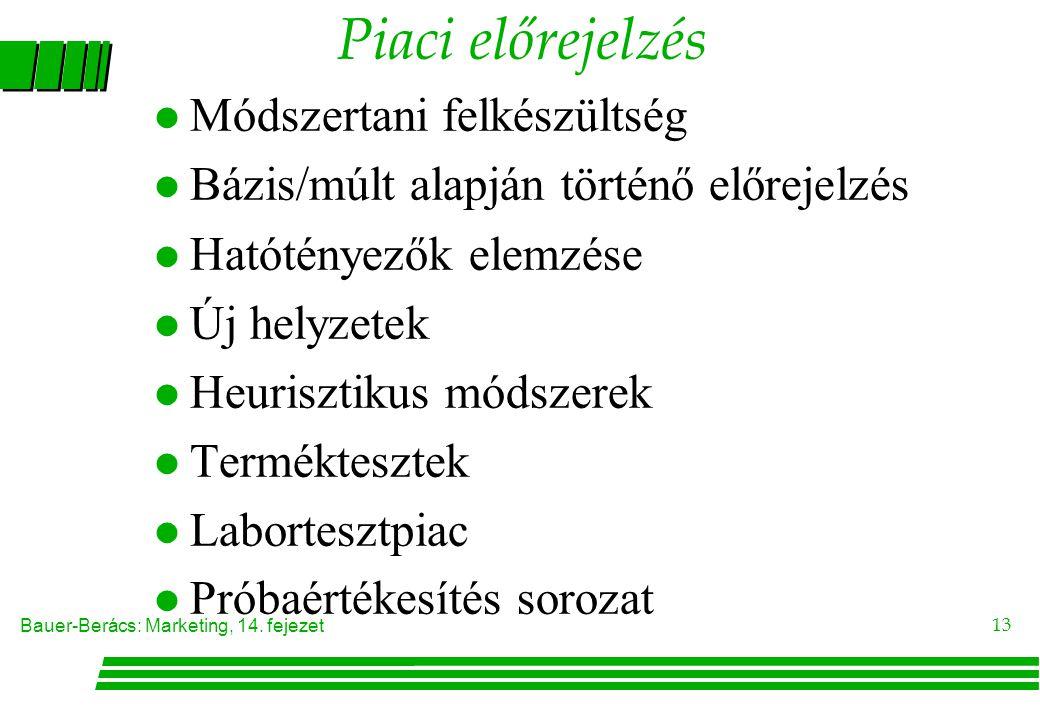 Bauer-Berács: Marketing, 14. fejezet 13 Piaci előrejelzés l Módszertani felkészültség l Bázis/múlt alapján történő előrejelzés l Hatótényezők elemzése