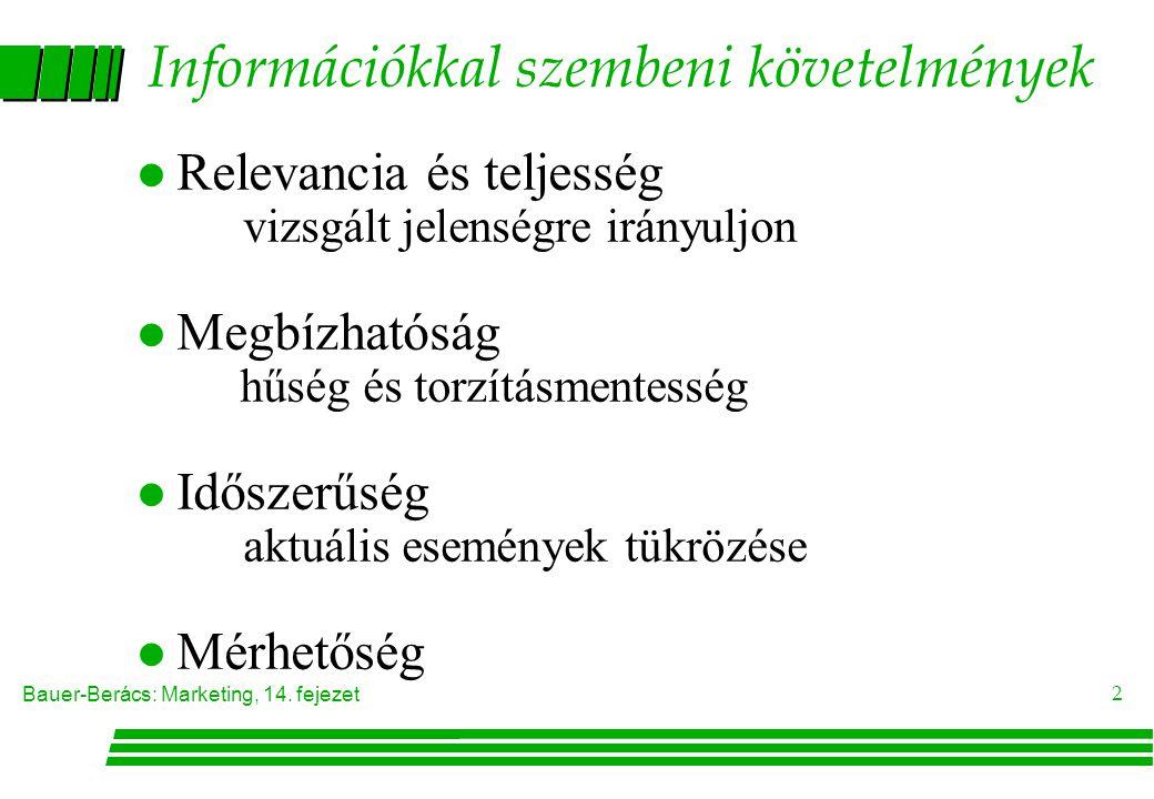 Bauer-Berács: Marketing, 14. fejezet 2 Információkkal szembeni követelmények l Relevancia és teljesség vizsgált jelenségre irányuljon l Megbízhatóság