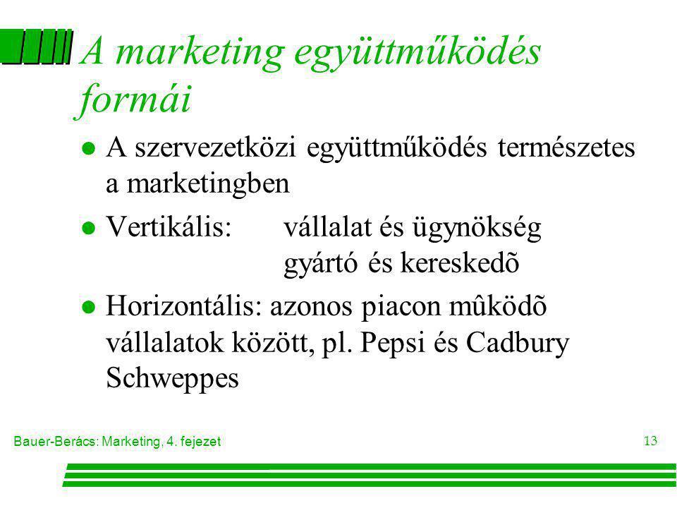 Bauer-Berács: Marketing, 4. fejezet 13 A marketing együttműködés formái l A szervezetközi együttműködés természetes a marketingben l Vertikális: válla